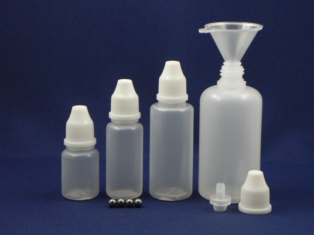 Paint Storage Bottles - Sample Bag of 4 bottles, one of each size