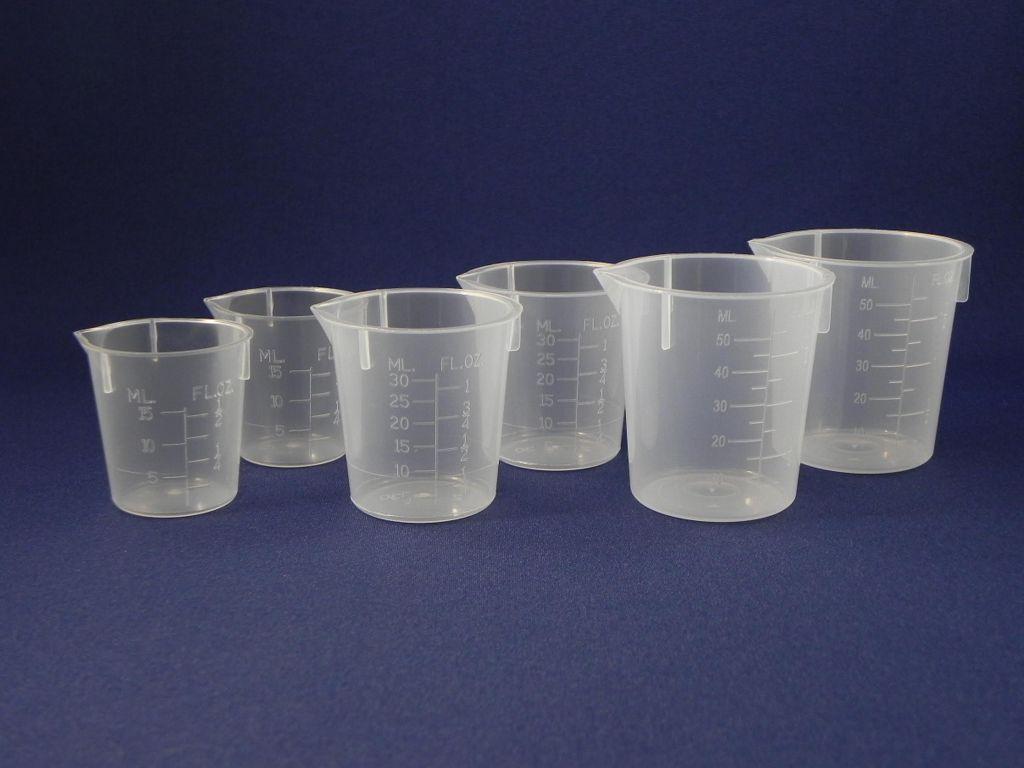 1 Bag of 4 graduated beakers (2 x 15ml, 1 x 30ml, 1 x 50ml)